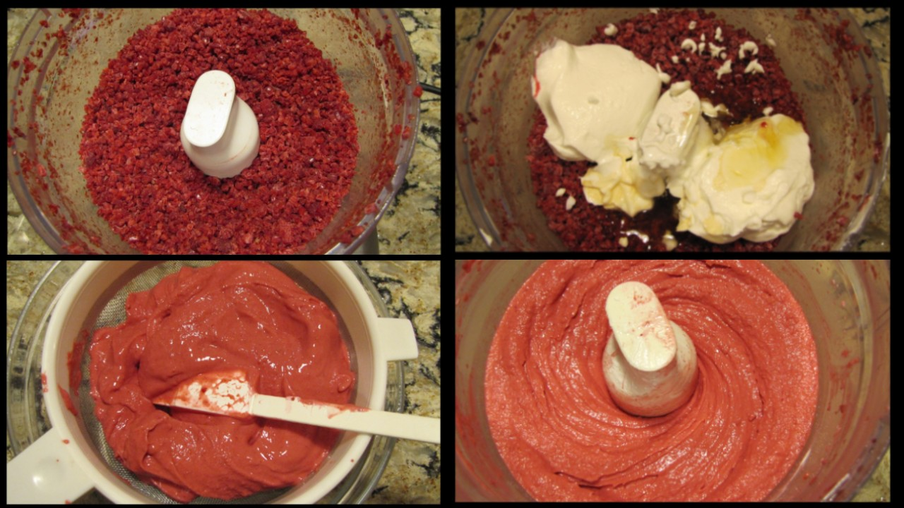 Four pictures with stages of making frozen yogurt in the food processor and sieve