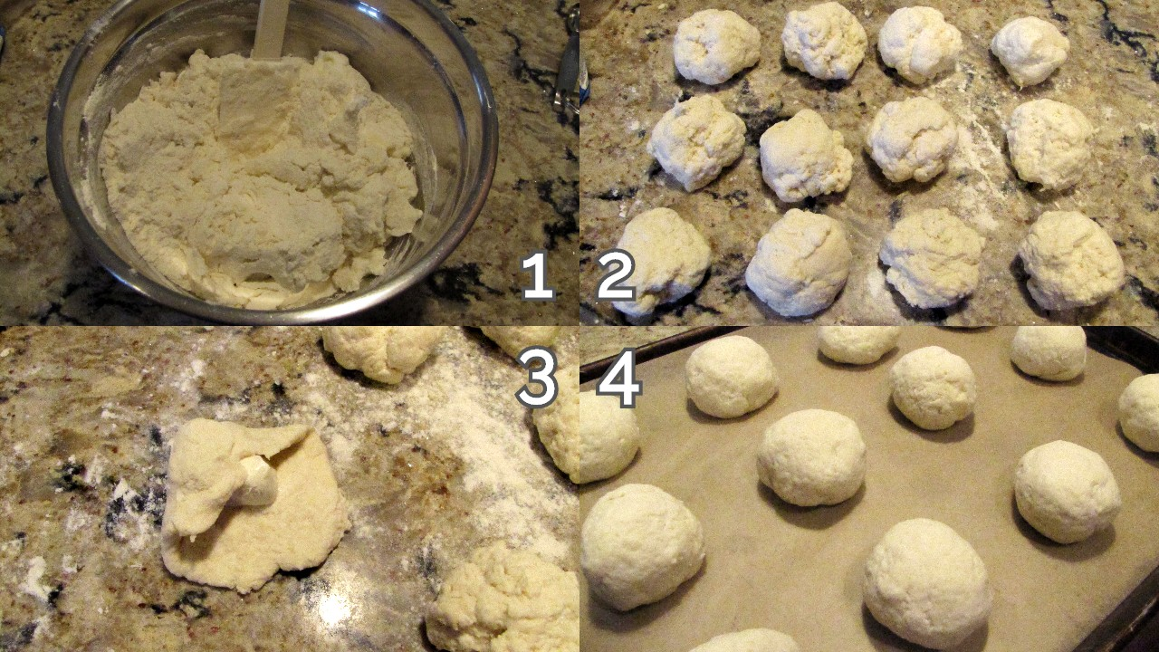 Bagel mixture in bowl, 12 bagel balls, flattened with cream cheese, 12 assembled balls on baking sheet