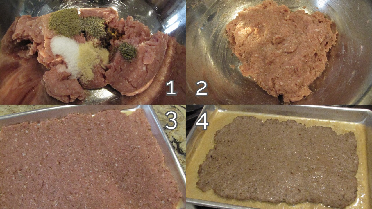 ground turkey with spices, mixed together, flatted into baking sheet, cooked