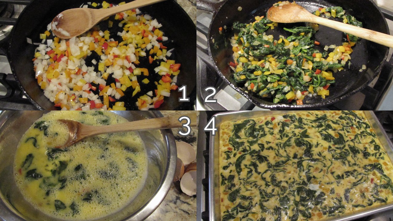onions peppers in pan with wooden spoon, cooked with spinach, mixed into eggs, baked baking sheet